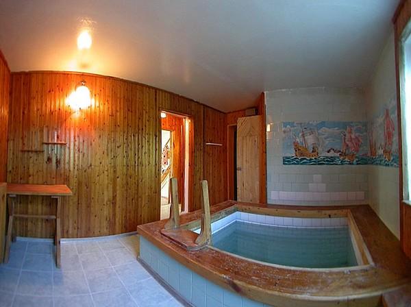 Один из вариантов сауны с бассейном в частном доме